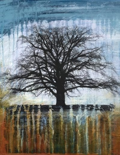 A beautiful painting by Amy Clay of a deciduous tree with no leaves with blue/grey sky and autumn-esque colors as if the viewer was hiding in the dry grass while also seeing the roots sink into the ground.